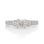 "14k White Gold Princess Cut ""3 Stone"" Diamond Ring - Charles Koll Jewellers"