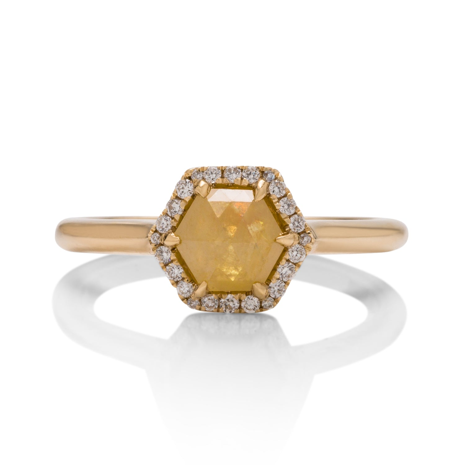Rough Hexagonal Yellow Diamond Ring - Charles Koll Jewellers