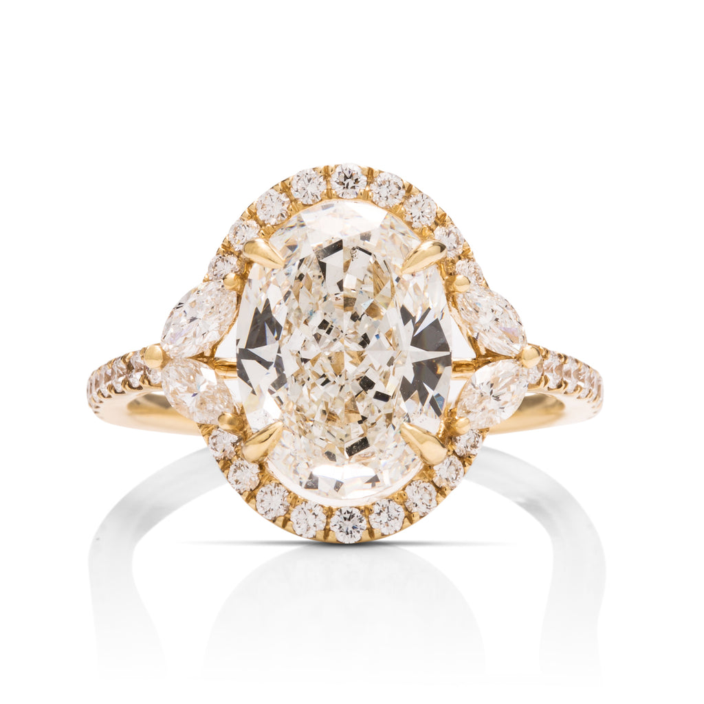 3 Carat Oval Halo Engagement Ring - Charles Koll Jewellers