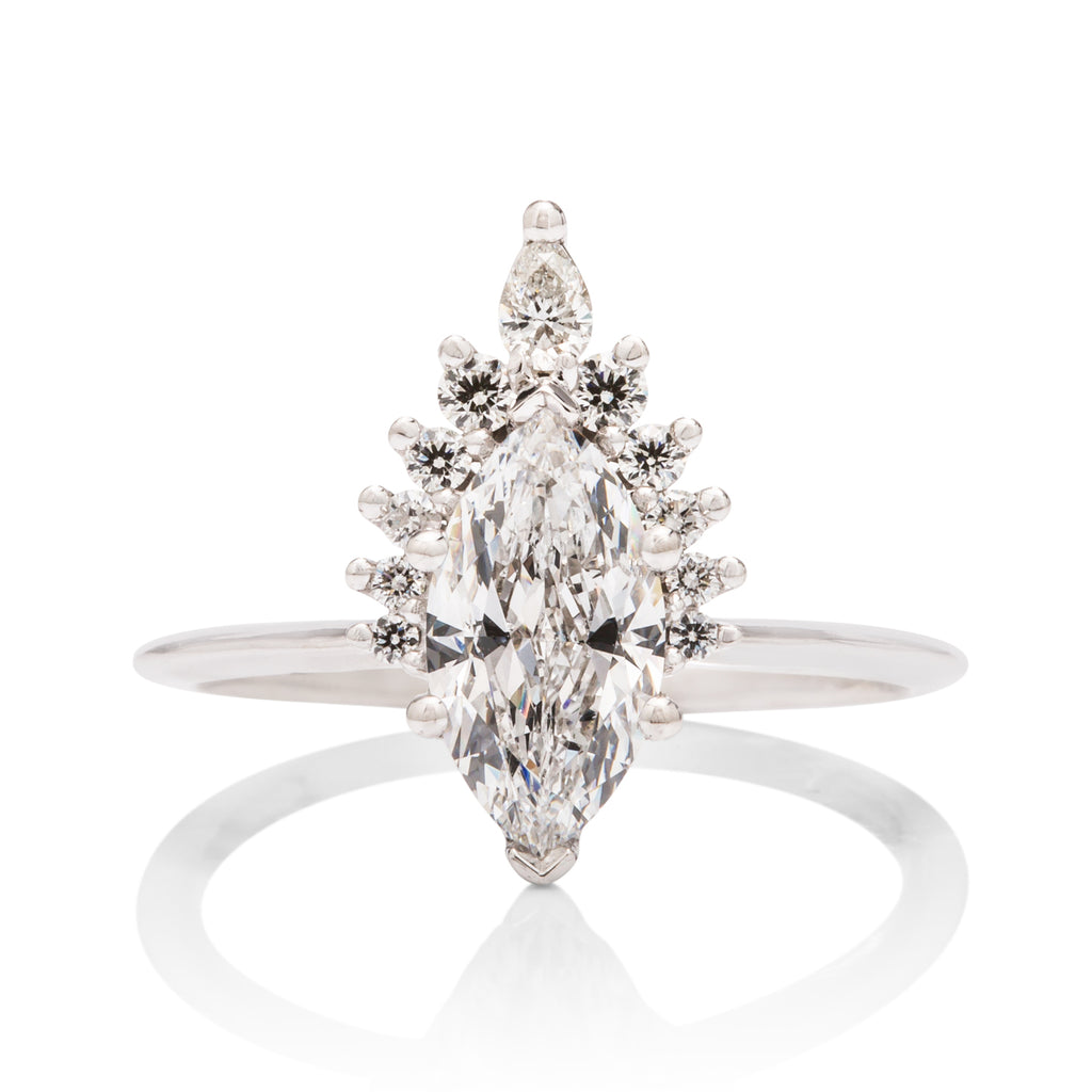 Marquise Diamond Crown Engagement Ring - Charles Koll Jewellers