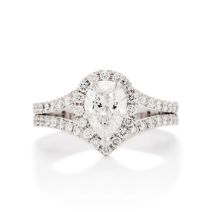 Split Shank Pear Diamond Semi-Mount - Charles Koll Jewellers