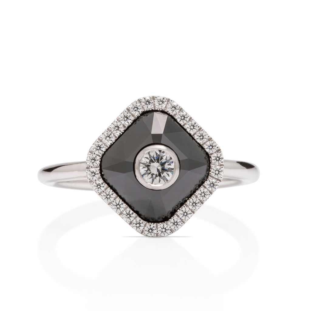 White Gold and Black Diamond Ring