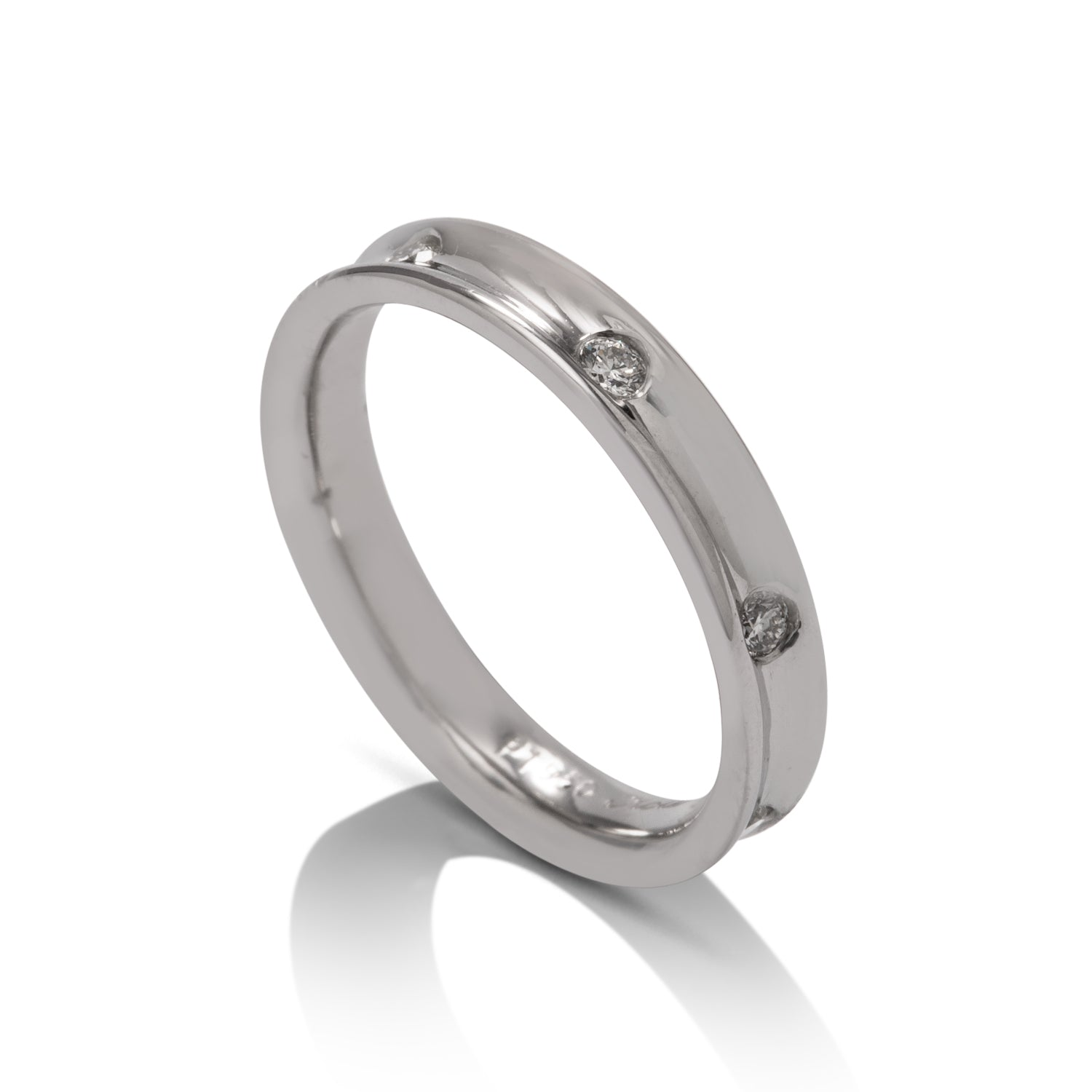 Diamond Station Platinum Band - Charles Koll Jewellers