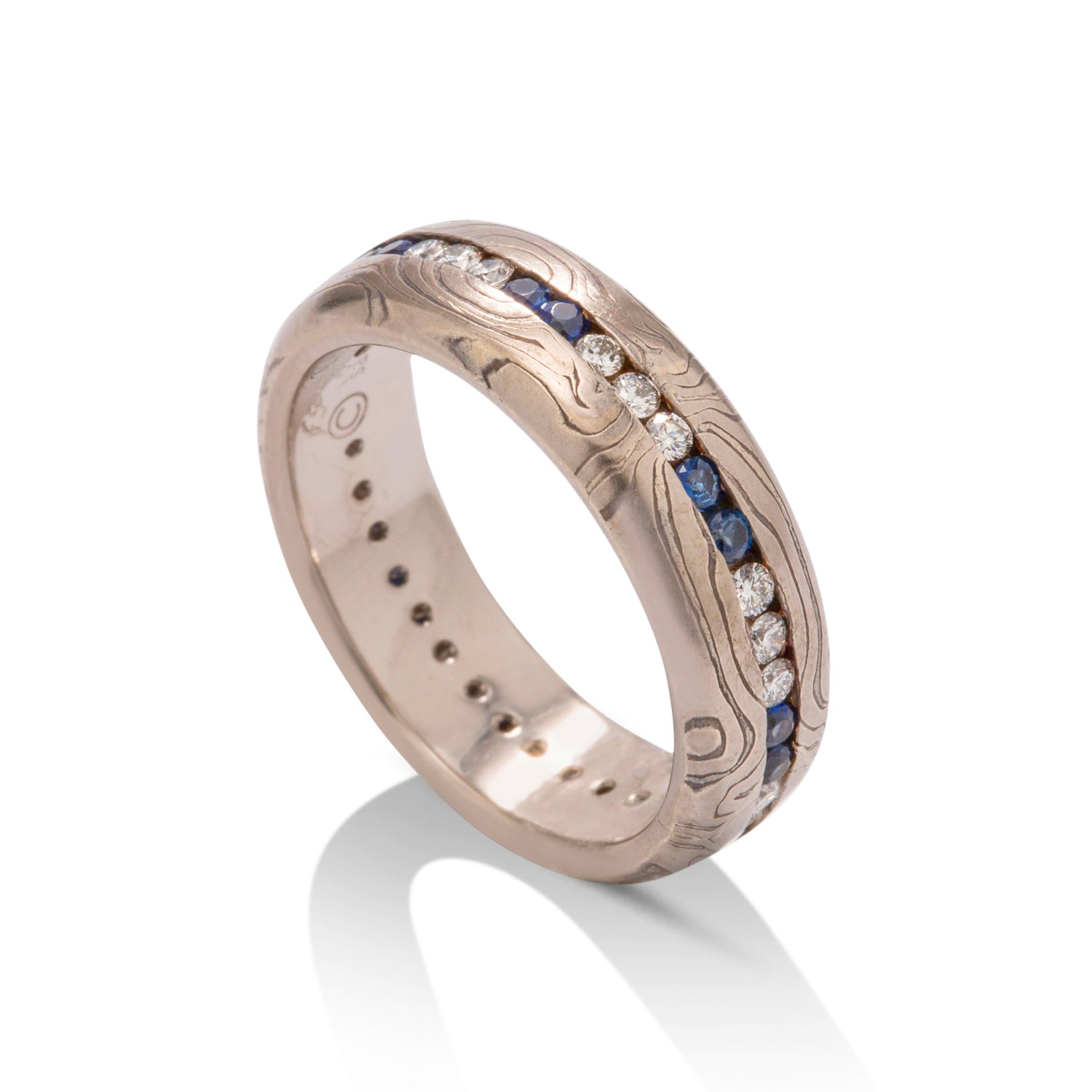 Mokume Gane Sapphire and Diamond Band - Charles Koll Jewellers