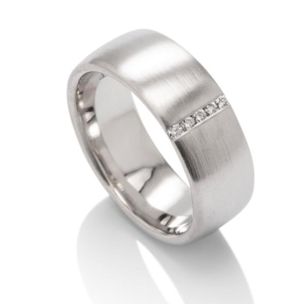 Satin Finish Diamond Wedding Band - Charles Koll Jewellers