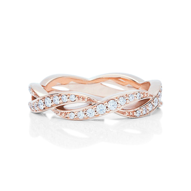 Rose Gold Ribbon Weave Eternity Band