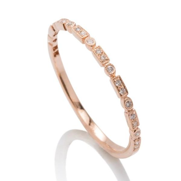 Skinny Rose Gold Diamond Band - Charles Koll Jewellers