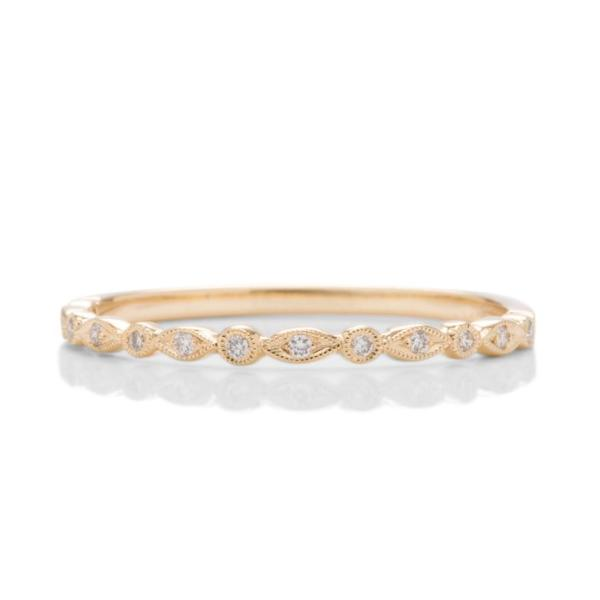 Skinny Yellow Gold Diamond Band - Charles Koll Jewellers