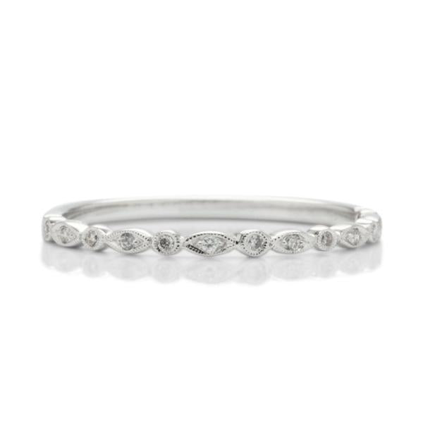 Skinny White Gold Diamond Band - Charles Koll Jewellers