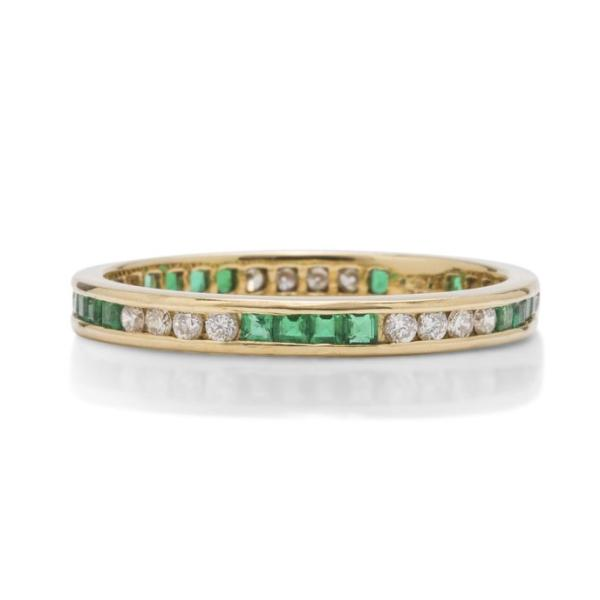Diamond and Emerald Yellow Gold Band - Charles Koll Jewellers