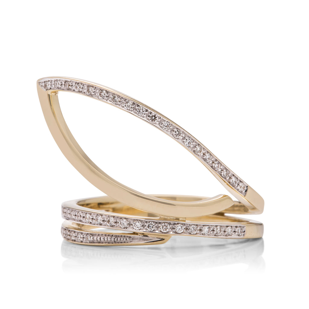 Diamond and Yellow Gold Leaf Ring - Charles Koll Jewellers