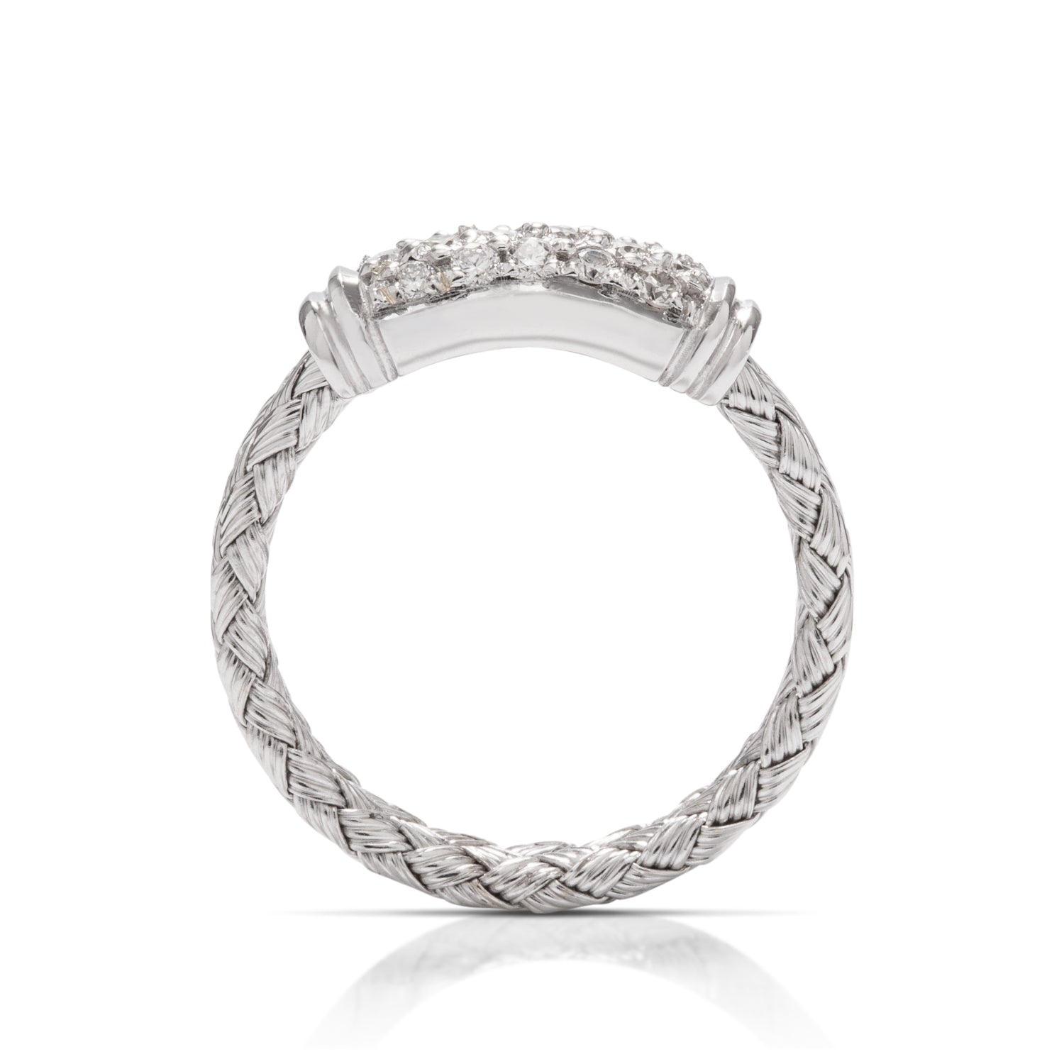 18k Braided White Gold Diamond Ring - Charles Koll Jewellers