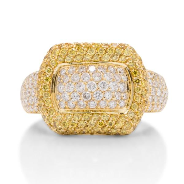 Diamond and Yellow Diamond Buckle Ring - Charles Koll Jewellers