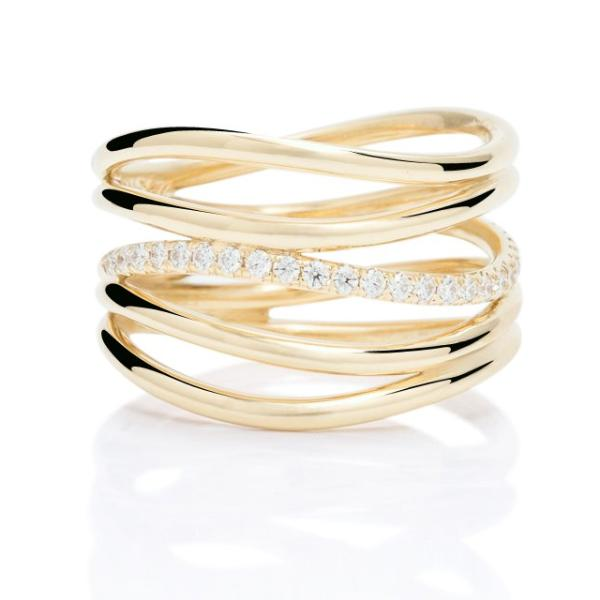 Yellow Gold And Diamond Wave Ring - Charles Koll Jewellers