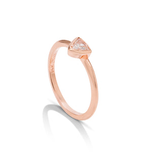 14k Rose Gold Triangle Diamond Stackable Ring - Charles Koll Jewellers