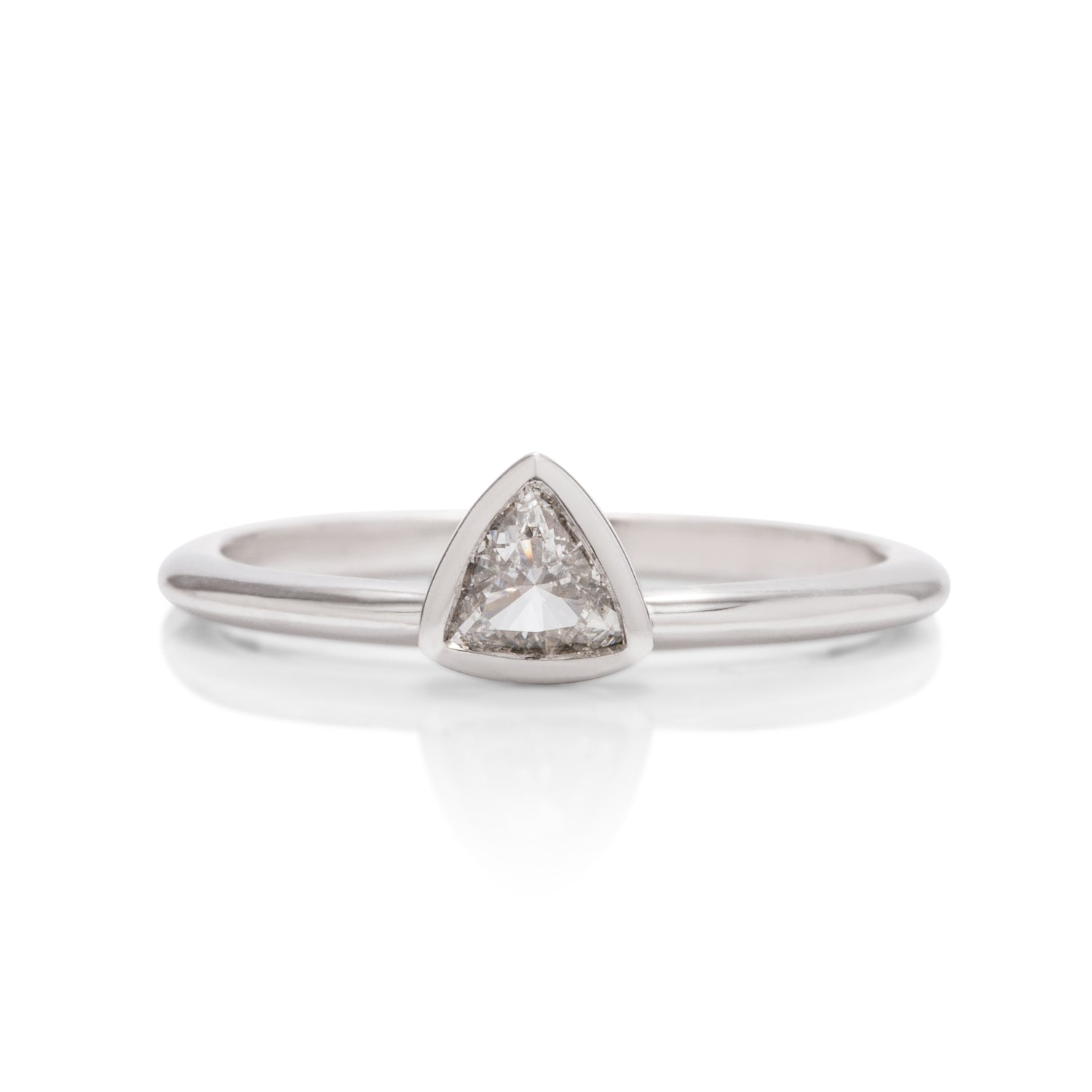 14k White Gold Triangle Diamond Stackable Ring - Charles Koll Jewellers