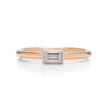 Platinum Bezel 18k Rose Gold Diamond Stackable Ring - Charles Koll Jewellers