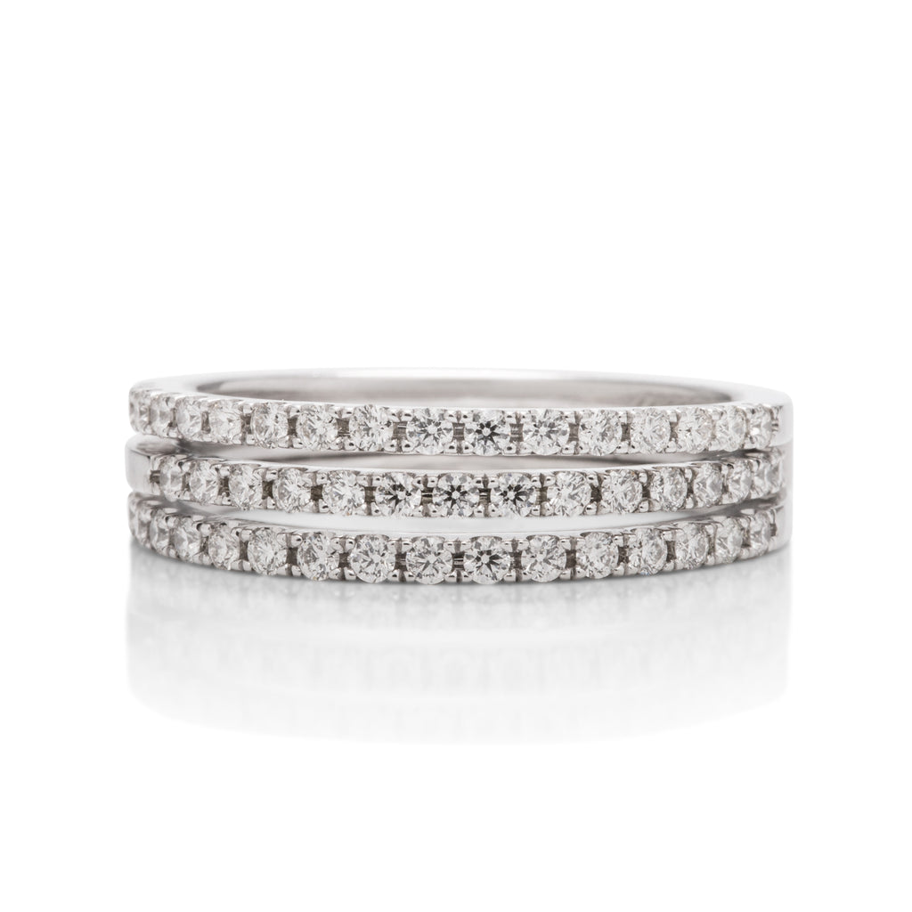 3 Row White Gold Diamond Ring Guard and Band Set - Charles Koll Jewellers