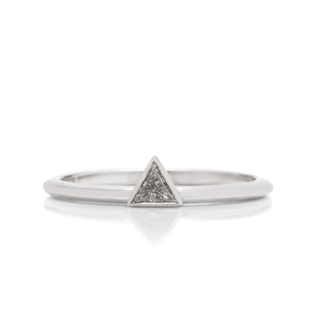 18k White Gold Triangle Diamond Ring - Charles Koll Jewellers