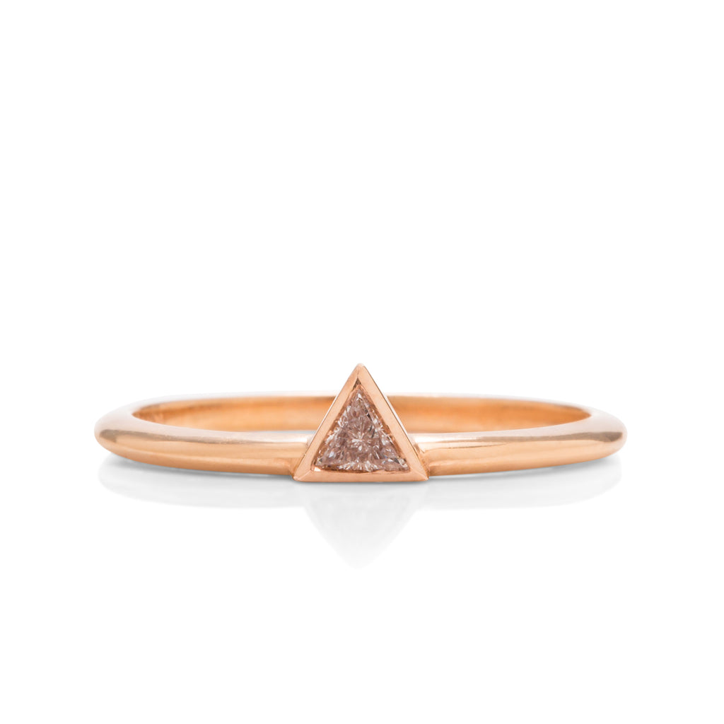 18k Rose Gold Triangle Diamond Ring - Charles Koll Jewellers