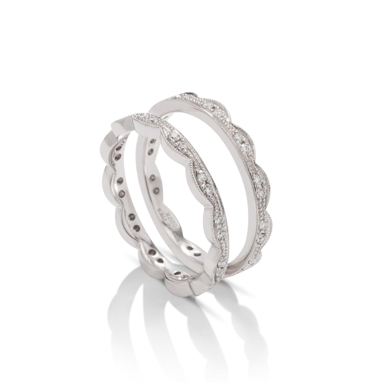 Pair of 18k White Gold Stackable Diamond Rings - Charles Koll Jewellers