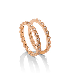 Pair of 18k Rose Gold Stackable Diamond Rings - Charles Koll Jewellers