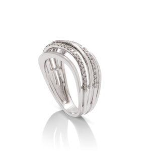 18k White Gold Diamond Wave Ring - Charles Koll Jewellers