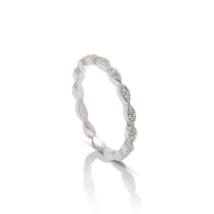 18k White Gold Diamond Stackable Band - Charles Koll Jewellers