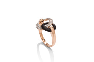 Blackened Steel and Rose Gold Diamond Circle Ring - Charles Koll Jewellers