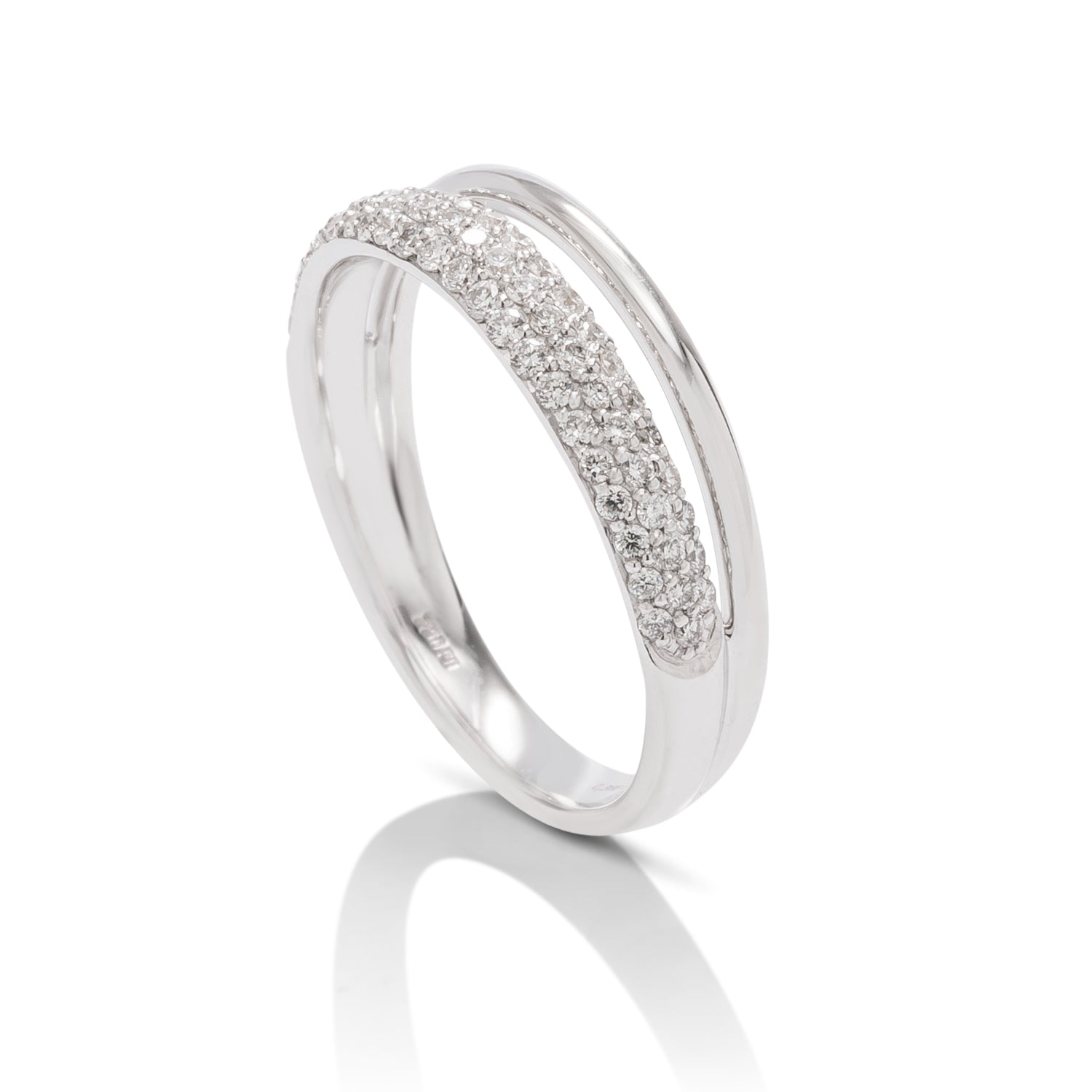 Two Row Pave Diamond Ring - Charles Koll Jewellers