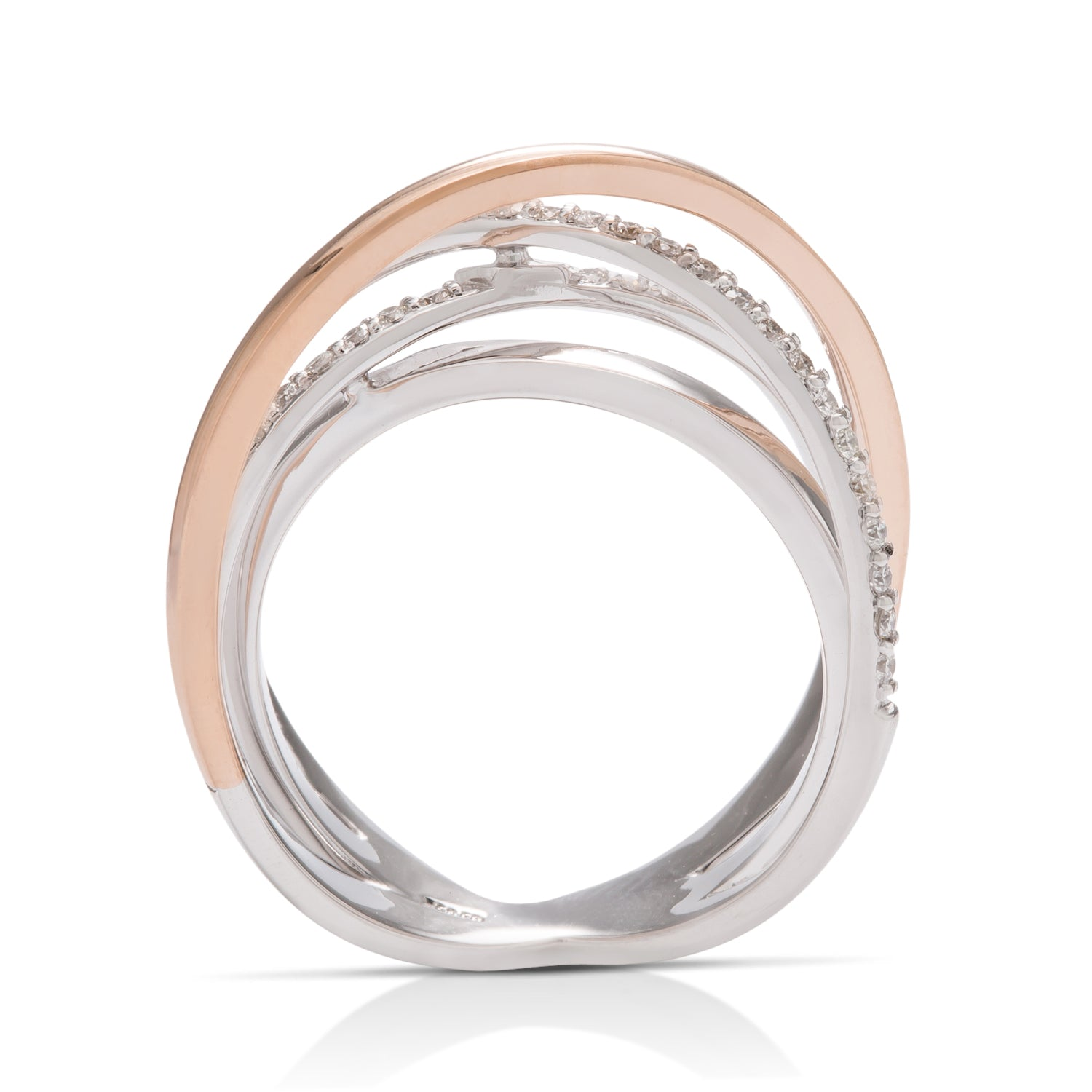 Two-Tone Crossover Ring - Charles Koll Jewellers