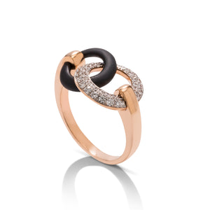 18k Rose Gold & Black Steel Diamond Ring - Charles Koll Jewellers