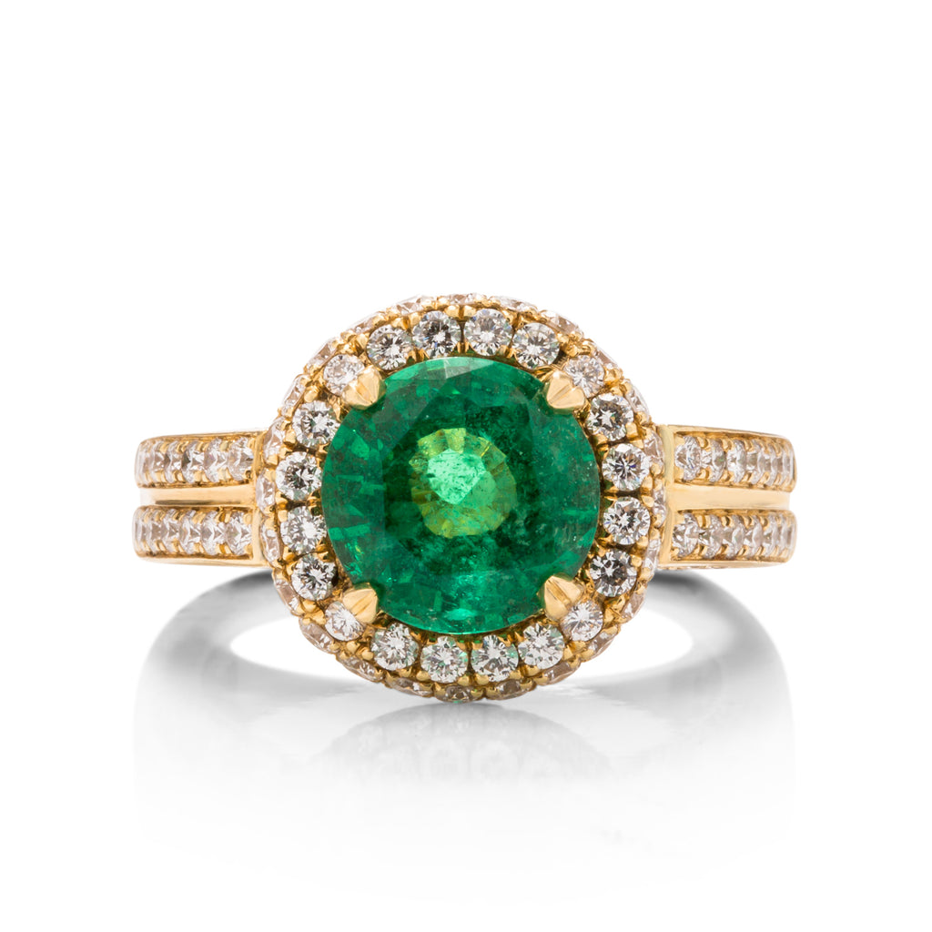 Zambian Round Cut Emerald Ring