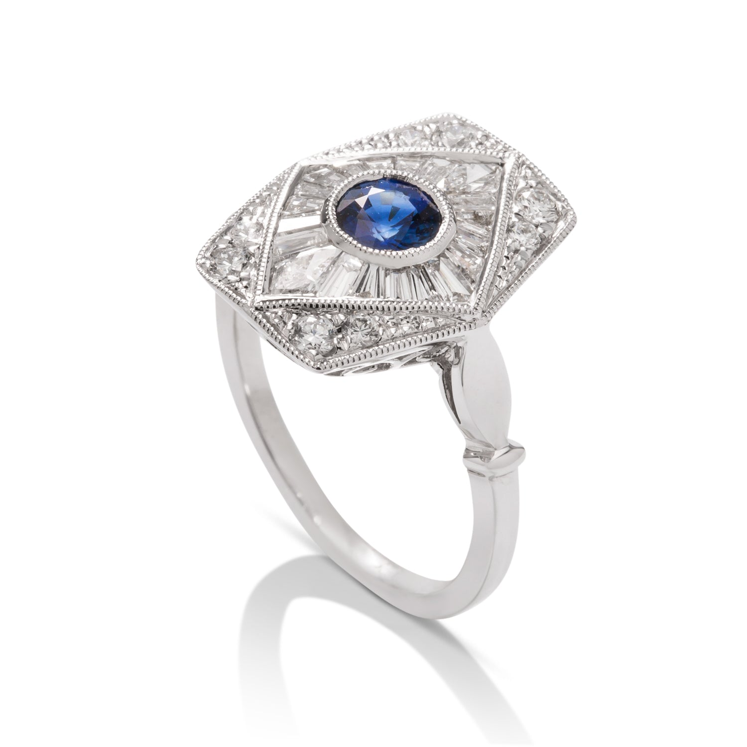 Antique Style Sapphire and Diamond Ring - Charles Koll Jewellers