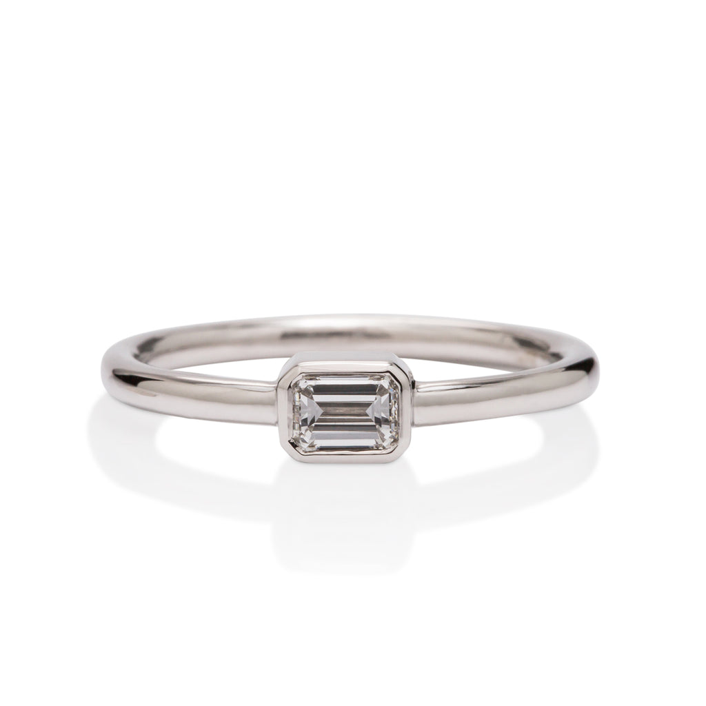 White Gold and Square Cut Diamond Ring