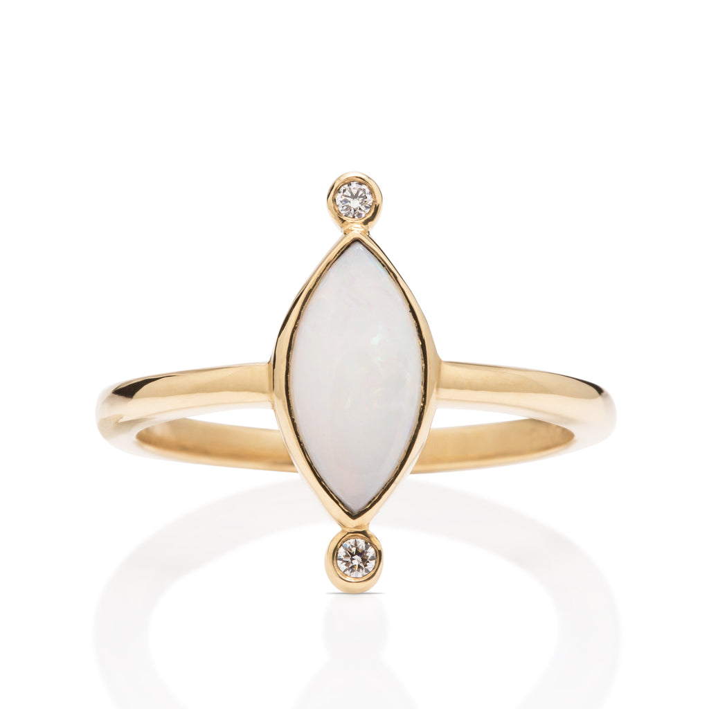 Yellow Gold and 0.58CT Opal Ring
