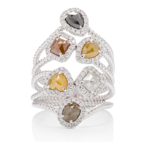 Multi-Color Organic Diamond Ring - Charles Koll Jewellers