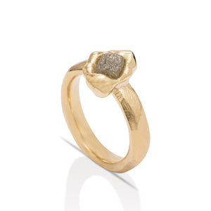 18K Gold Rough Diamond Ring