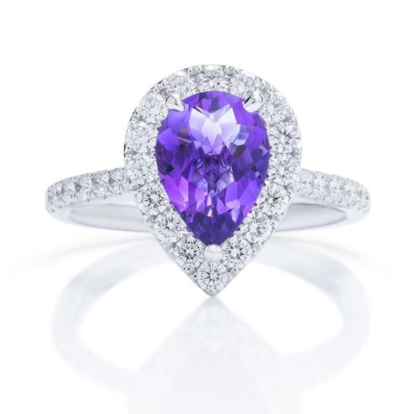 Amethyst Diamond Halo Ring - Charles Koll Jewellers