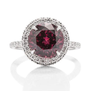 Rhodolite Garnet and Diamond Halo Ring - Charles Koll Jewellers