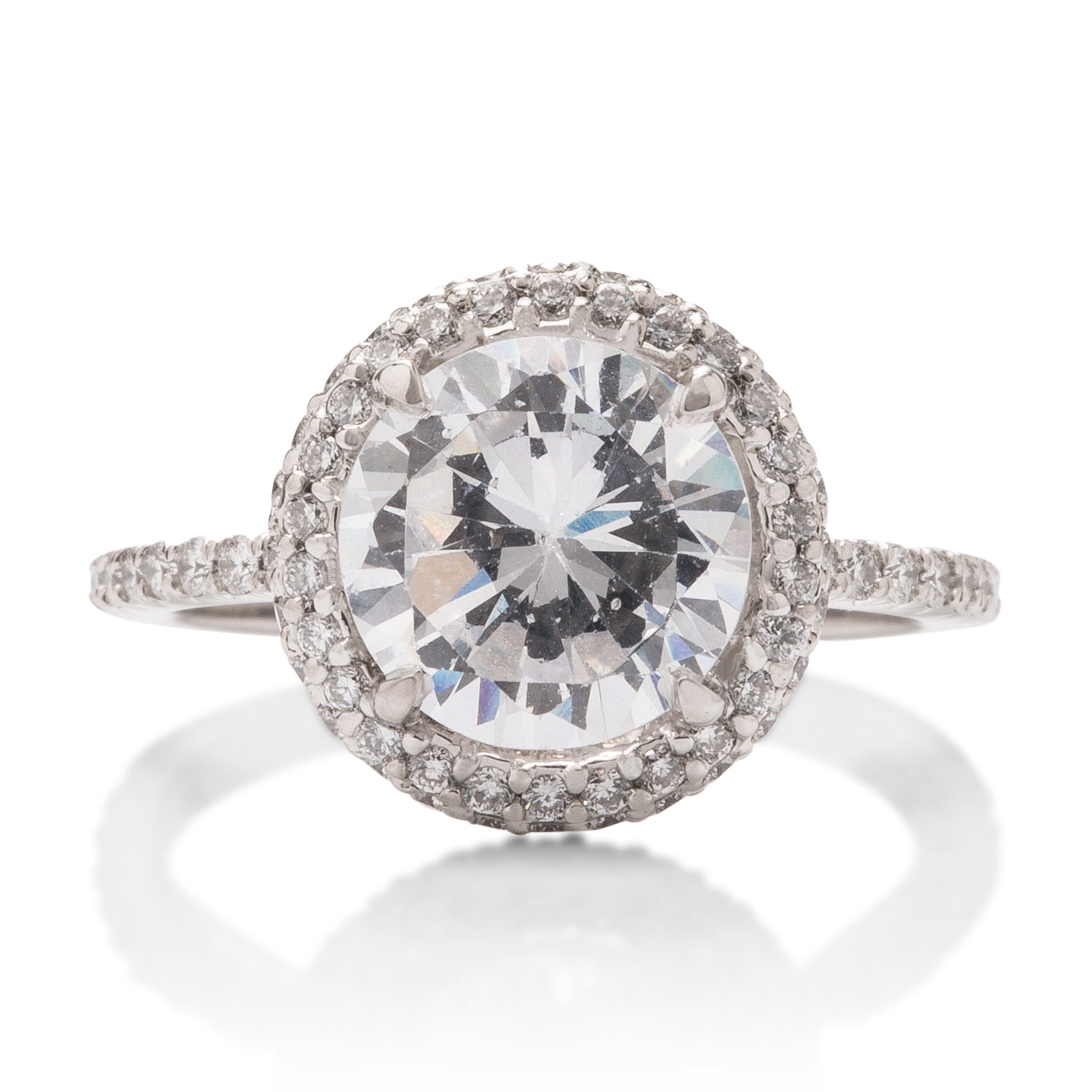 Thin Band Halo Engagement Ring - Charles Koll Jewellers