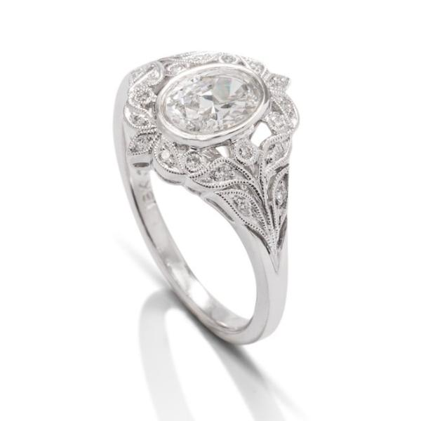 Oval Vintage Leaf Detail Diamond Semi-Mount - Charles Koll Jewellers