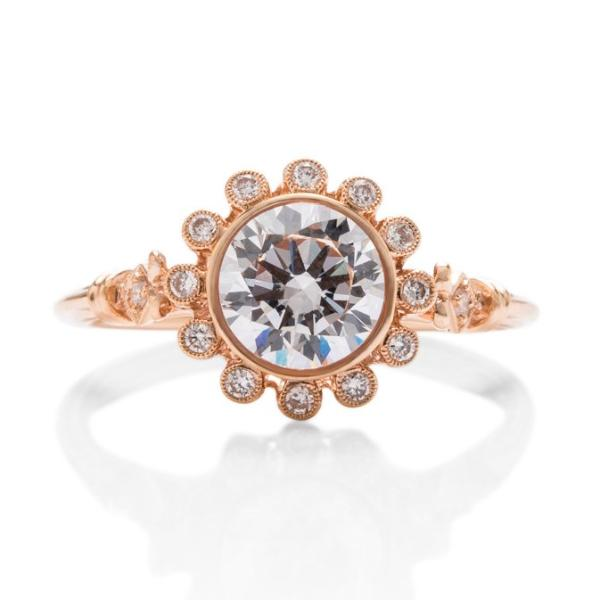 Rose Gold Vintage Diamond Semi-Mount - Charles Koll Jewellers
