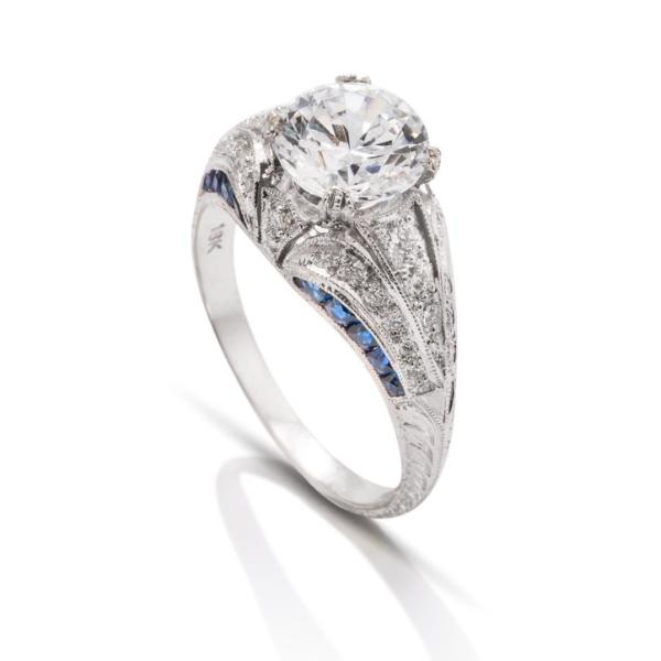 Diamond and Sapphire Vintage Style Semi-Mount - Charles Koll Jewellers