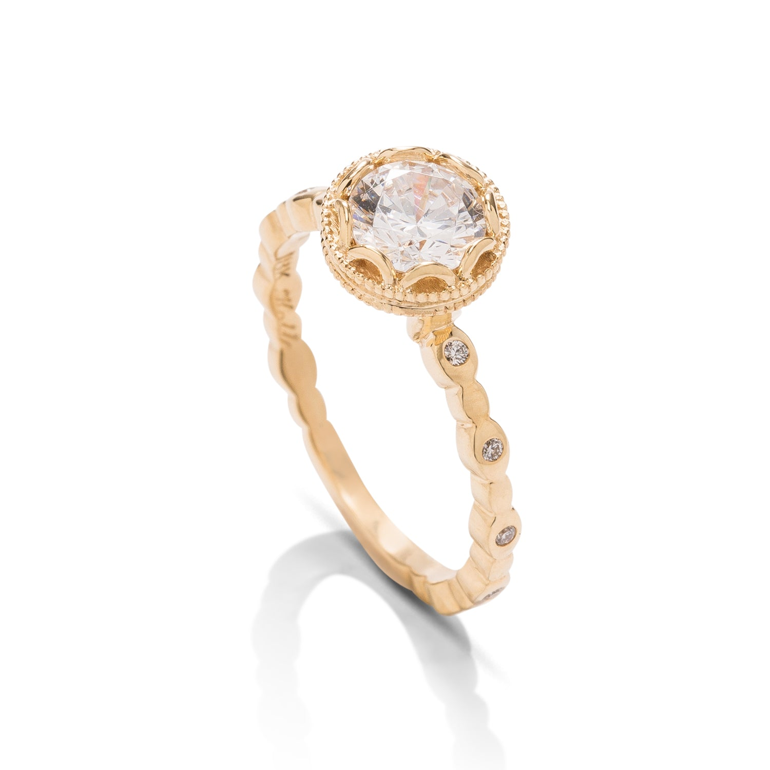 Yellow Gold Vintage Style Semi-Mount - Charles Koll Jewellers