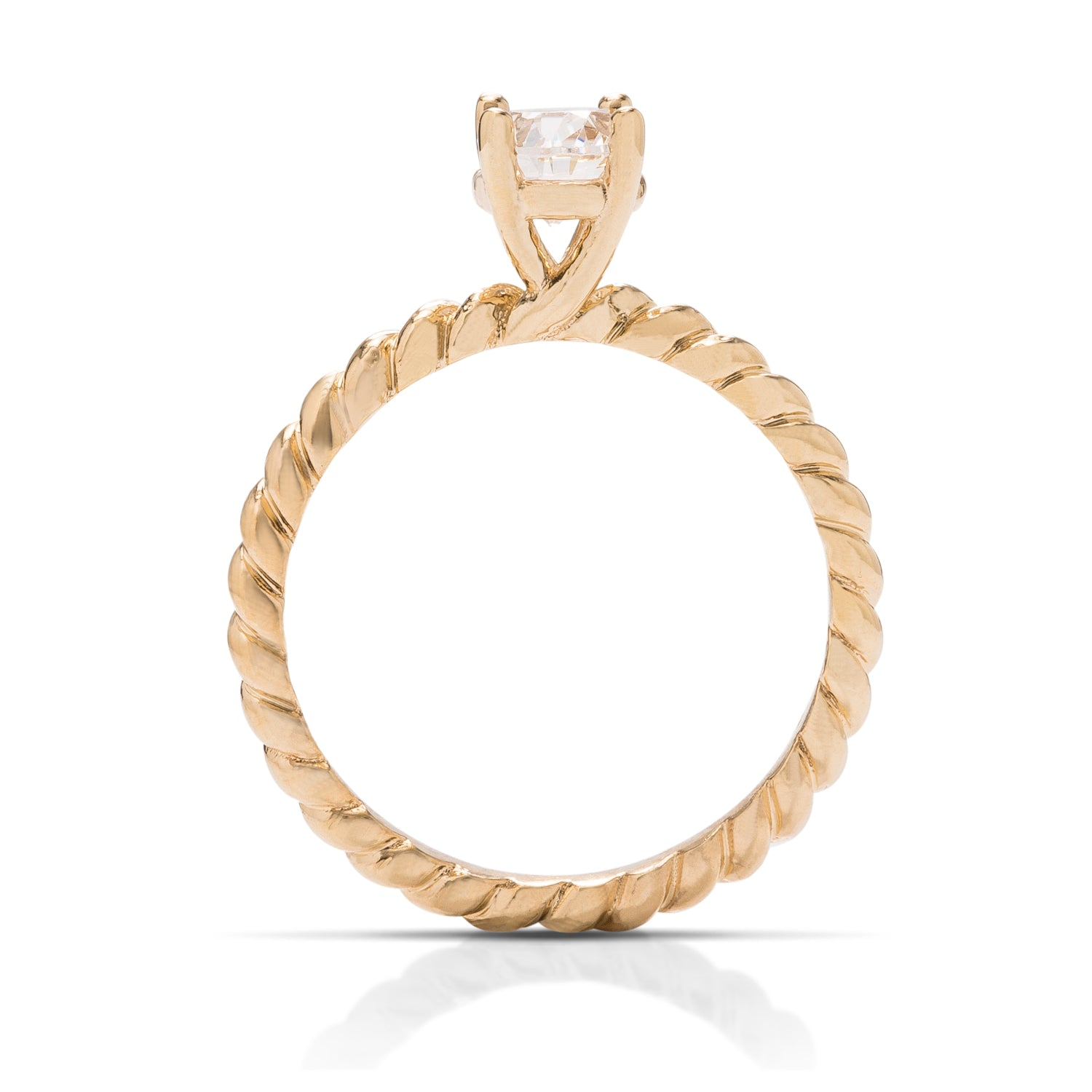 Yellow Gold Rope Band Engagement Ring - Charles Koll Jewellers