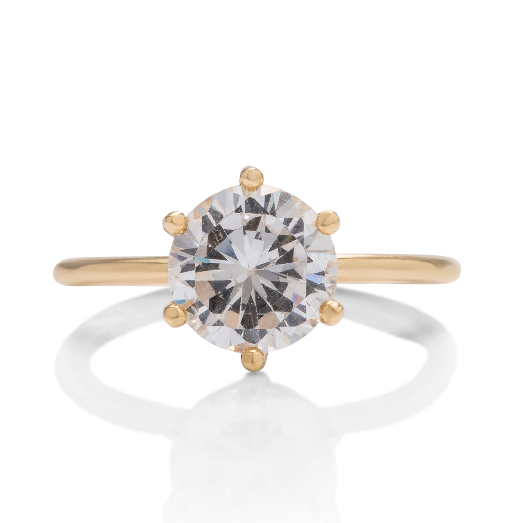 18k Gold 6 Prong Solitaire Engagement Ring Setting - Charles Koll Jewellers