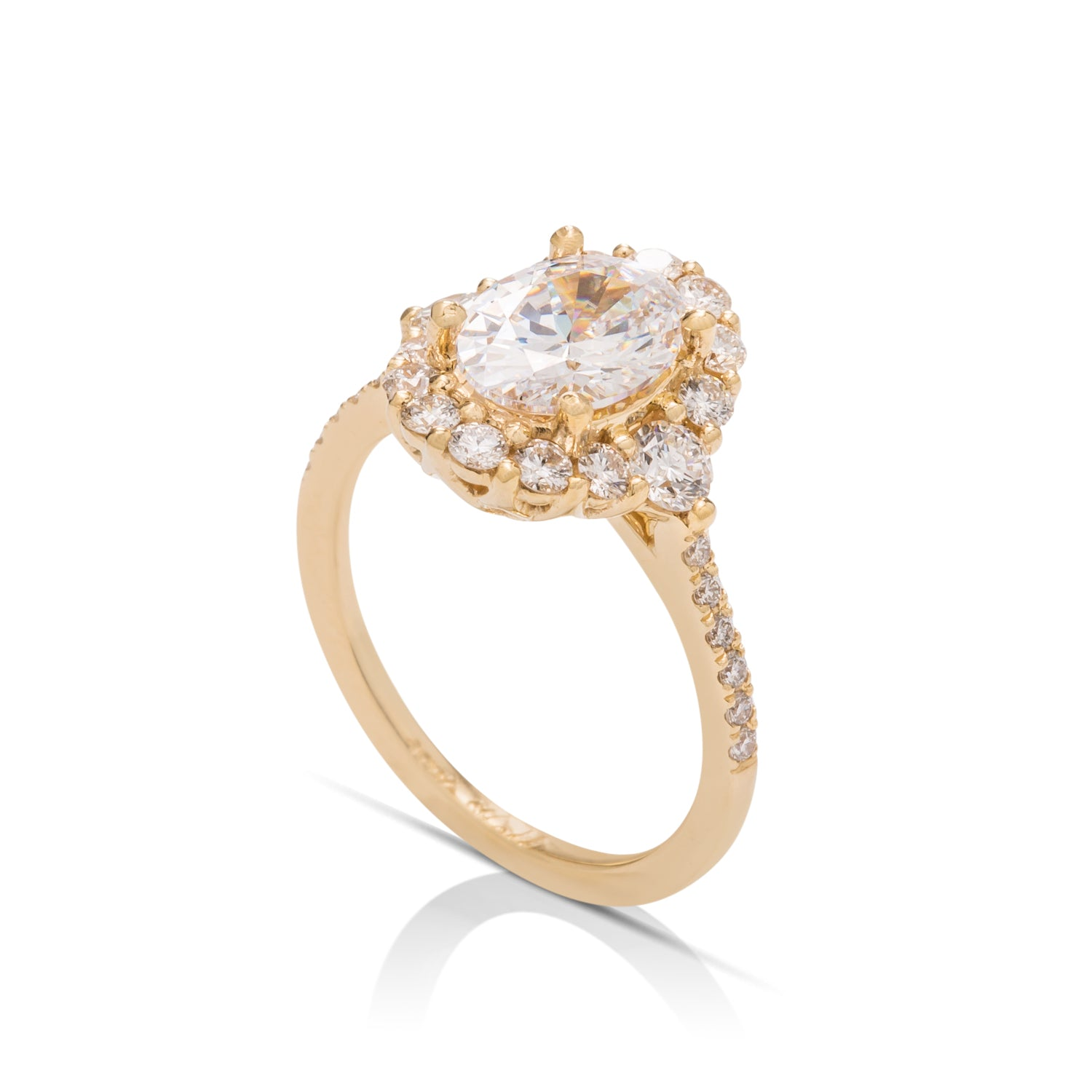 Yellow Gold Oval Halo Semi-Mount Engagement Ring - Charles Koll Jewellers
