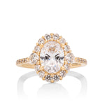 Yellow Gold Oval Halo Semi-Mount Engagement Ring