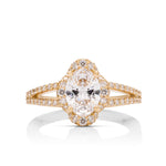 Fancy Four Point Oval Halo Engagement Ring